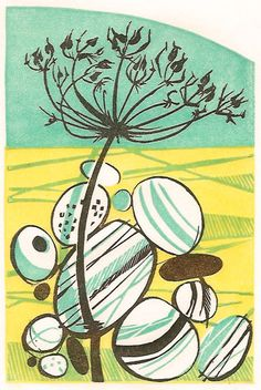 Alexanders - wood engraving - Angie Lewin - http://www.angielewin.co.uk