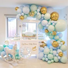 Balloon Garland Arch Kit Confetti Macaron Blue Pastel Balloons Birthday Wedding Baby Shower Anniversary Party Decoration - New Sites Anniversary Party Decorations, Balloon Decorations Party, Baby Shower Decorations For Boys, Boy Baby Shower Themes, Baby Shower Balloons, Balloon Garland, Birthday Balloons, Birthday Party Decorations, Balloon Arch