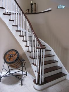 This was painted/refinished from blah blah blonde wood Redo Stairs, Staircase Makeover, House Stairs, Stair Redo, House Projects, Diy Projects, Blonde Wood, Curved Staircase, Painting Trim