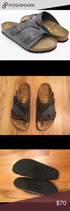 🌷SALE🌷 Birkenstock Zurich sandals Grey wool and distressed oiled leather combo.  These were meant to be my cold weather birks but foot problems have prevented me from wearing them more than a few times. Excellent condition. Birkenstock Shoes Sandals