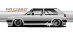 Axesent professional automotive styling ideation and intent imaging. Large format, highly detailed photo realistic digital illustrations for automotive project planning, intent, and custom design. Street Racing Cars, Golf Mk2, Car Drawings, Art Cars, Custom Cars, Jdm, Digital Illustration, Volkswagen, Custom Design