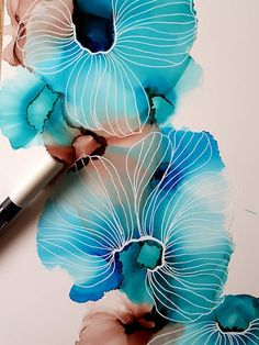 Hav Blomst Flower Painting Floral Painting Original Art
