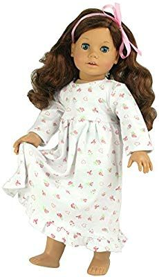 18 Inch Dolls Clothes Nightgown fits American Girl Dolls, Print Knit Nightgown Doll Clothing for 18 Inch Dolls Comfortable Floral Print 18 Inch Doll Nightgown. American Girl Toys, American Doll Clothes, Ag Doll Clothes, Doll Clothes Patterns, Doll Patterns, Girls Sleepwear, Wellie Wishers, Outfits With Hats, 18 Inch Doll