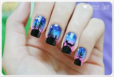 Beauty is everywhere | Beauty Blog: My Nails-  Forest at night :)