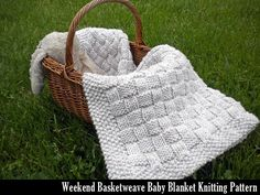 Gather a few of your favorite movies together for a weekend of knitting, or in my case back-to-back episodes of Greys Anatomy. You can easily finish this beautifully textured baby blanket in a weekend. True basketweave pattern, not a checkerboard... I have perfected this classic pattern over the years and its my favorite baby shower gift to give.    Finished Size: 30 x 36    Needle size required: size 11 (8.0mm) knitting needles. A circular needle works best.    Full color, professionally…