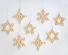 Set of 4 Christmas decorations tree ornaments woven blonde wood bead modern scandinavian minimalist holiday xmas decor stars snowflake