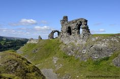 """The medieval Welsh castle of Castell Dinas Bran, located above the town Llangollen in Denbighshire, Wales. Apart from its beauty and old history. Wales is known as """"the land of song"""". It has a long history of folk music related to the Celtic music of Ireland and Scotland. Welsh choral choirs and brass bands are moreover known all over the world."""