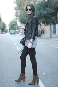 leather jacket, leopard booties