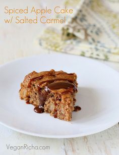 Spiced Apple Cake with Salted Caramel. Vegan Recipe