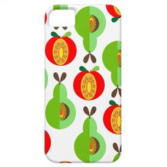Cool Fresh Fruit Retro Print Pattern Apples Pears Cool Stylish Phone Cases.  A fantastic modern look inspired by retro pattern prints with apples and pears in shades of orange green yellow and red popping out of a white base, such a cool fresh look. A stylish way to protect your phone.
