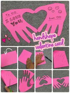 お子様のかわいい手を使った手形ハートカードの作り方とコツ。パパやおじいちゃんへのバレンタインカードとしてはもちろん、お子様の成長記念にも!