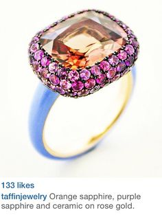 Taffin by James de Givenchy - Orange+Purple Sapphire and Ceramic on Rose Gold Ring      ♥≻★≺♥