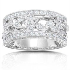 Antique Design Half Carat Wedding Ring Band for Her in White Gold