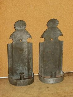 """RARE Pair 19th C American Tin Candle Sconce """"Stylized Woman"""" Design Old Surface 