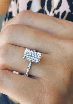 Emerald Cut Rings, Wedding Ring Emerald Cut, Emerald Cut Diamond Engagement Ring, Big Diamond Wedding Rings, Asscher Cut Diamond Engagement Ring, Elegant Wedding Rings, Wedding Ring Styles, Unique Diamond Rings, Emerald Cut Diamonds