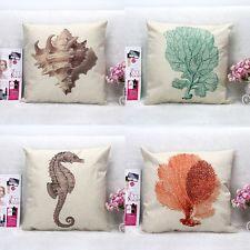 Taie d'oreiller Pillowcase Carré Coton Chanvre Maison Bureau Biologique Marine
