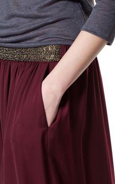 LONG SKIRT WITH BEADED WAISTBAND - Skirts - Woman - ZARA United States