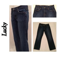"""Lucky Brand Short Boot Jeans 2 / 26 Lucky Brand Short Inseam Easy Rider Boot Cut Denim Blue Jeans 2 / 26  5 pocket  Lightly distressed Front & back hem has a little wear/distressing? Shown in photos.  Otherwise excellent Preowned condition   Inseam 28.5""""  Waist flat 15""""               #32 Lucky Brand Jeans Boot Cut"""