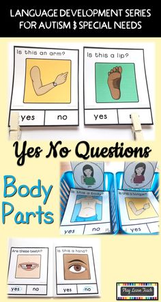 Student task: accurately answer yes no questions when presented body part- themed stimulus pictures. 40 Question Cards for students on the Autism Spectrum, in Early Childhood, Early Intervention, ESL, Occupational Therapy, Special Education or Speech Therapy classes; compliments ABA and TEACCH strategies.