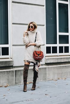 cozy sweater + tall boots