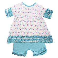 Short Sleeve Babydoll Outfit Set in Girl Party Flag