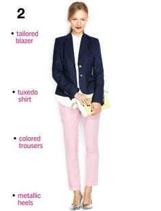 Make pink pants serious with crisp office separates.