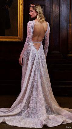 berta bridal fall 2016 long sleeves jewel neck fully beaded aline wedding dress (16 122) bv lowback overskirt train