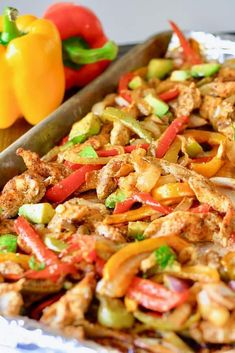 Sheet Pan Fajitas at Laughing Spatula @FoodBlogs #chickenrecipes #chickendinner #mexicanfood