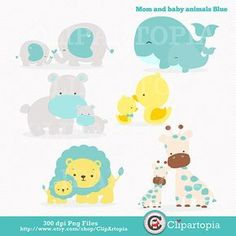 Mama e hijos animales azul digital clipart / elefante, girafa, leon, ballena, pato, hipopotamo para uso comercial y personal