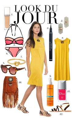 Look Du Jour: Twelve Fronkeys!. Midi yellow dress+flat sandals+neoprene bikini+brown bag+carey print sunglasses. Summer outfit 2016