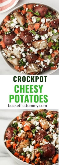 Crockpot Cheesy Potatoes (The Easiest Crockpot Potato Recipe) Crockpot Cheesy Potatoes are great for mealprep or for cooking for a crowd. These cheesy potatoes with real potatoes are filed under easy crockpot potato recipes This image h Healthy Side Dishes, Side Dishes Easy, Side Dish Recipes, Recipes Dinner, Appetizer Recipes, Potluck Recipes, Healthy Sides, Healthy Choices, Appetizers