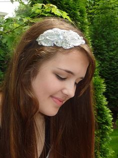 Silver Gray Beaded Leaves Headband Sequin by JillsBoutique on Etsy, $28.00