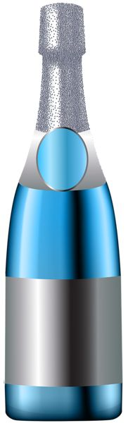 Champagne Bottle Blue PNG Clip Art Image