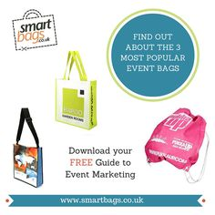 Be noticed at trade fairs, conferences and events with an eye-catching promotional bag.  Download your FREE Guide to Event Marketing for hints & tips.