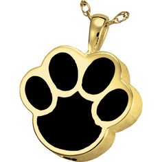 Black and Yellow Paw | Black Inlay Paw Print Pet Cremation Jewelry