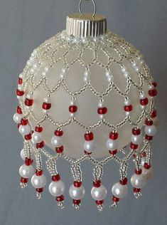 Glass Beaded Cover and Ornament Red Seed Beads Siver Seed Beads Pearl Molded Beads Swag and Drop 2 Diameter Ball;How To Choose The Best Gift Wrapping Paper?Buy Jewelry Beads for Bracelet and Necklace Online Beaded Ornament Covers, Beaded Ornaments, Ornament Crafts, Diy Christmas Ornaments, Christmas Balls, Handmade Christmas, Ornaments Ideas, Christmas Christmas, Jewelry Patterns