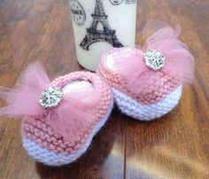 Items similar to Hand Knitted Pink and White Newborn Baby Girl Booties on Etsy Crochet Baby Bloomers, Tulle Bows, Baby Girl Newborn, Baby Boy, Knit Shoes, Pink Acrylics, Baby Booties, Baby Knitting, Baby Shower Gifts