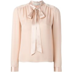Alice+Olivia pussy bow blouse (€345) ❤ liked on Polyvore featuring tops, blouses, alice olivia top, alice olivia blouse, pink silk blouse, pink silk top and bow collar blouse