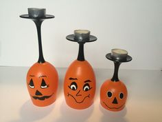 Set Of Pumpkin Wine Glass Candle Holders Diy Wine Glasses, Decorated Wine Glasses, Hand Painted Wine Glasses, Wine Glass Crafts, Bottle Crafts, Pumpkin Wine, Wine Glass Candle Holder, Pots, Bottle Painting