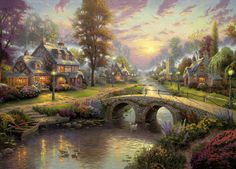 Sunset on Lamplight Lane by Thomas Kinkade.  So blessed to own this painting.