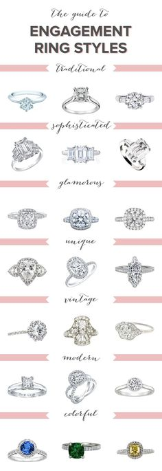 Diamond Engagement Rings The ultimate guide to engagement ring styles - Find the perfect engagement ring! See over 20 different engagement rings in Bridal Musings' ultimate guide to engagement ring styles. Different Engagement Rings, Perfect Engagement Ring, Engagement Ring Styles, Wedding Engagement, Diamond Engagement Rings, Wedding Bands, Wedding Ring Styles, Diamond Rings, Engagement Ring Guide