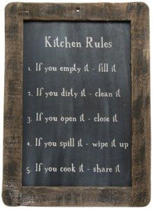 Amazon.com: Framed Kitchen Rules Blackboard - Primitive Country Rustic Reminders Wall Decor: Home & Kitchen