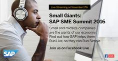 Join me on November 17, 2016 for a special Facebook Live event. It's the 4th annual SAP SME Summit, and one of the first live events SAP has hosted from its spectacular, new Hudson Yards off…
