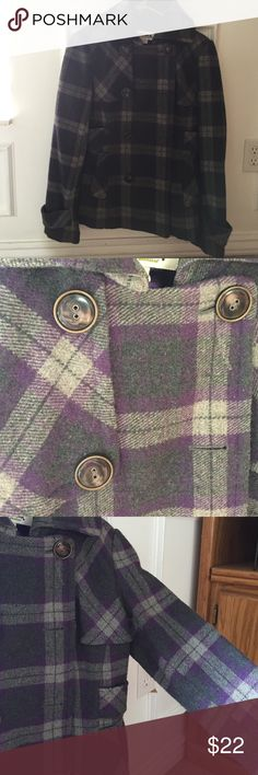 Adorable tweed plaid Peacoat Trade Mark Peacoat. Purple and grey plaid, kind of a tweed material. Super cute with skinny jeans! Very gently used-Great condition. Smoke free. Jackets & Coats Pea Coats