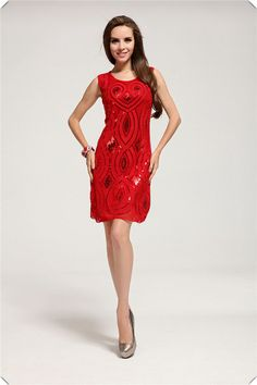 1920's inspired red cocktail dress by JulietteOnEtsy on Etsy, $73.15
