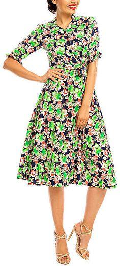 799a9a9396061c Green & Black Floral Summer Shirt Dress - Women. (Shopstyle Affiliate)  Retro Dress