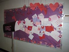 Valentine's Day Letter writing bulletin board display idea.