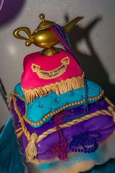 Aladdin Birthday Party cake! See more party planning ideas at CatchMyParty.com!