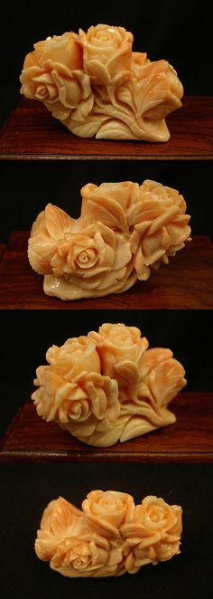 Other Artisan Jewelry 12519: Vintage Taiwanese Natural Salmon Coral Carved Rose Pendant Piece -> BUY IT NOW ONLY: $1750 on eBay!