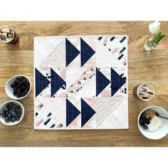 """i followed my heart and it led me to the fridge...this is a smaller version of the quilt top i showed over the weekend. finishing at 20"""" square it features Blush by Jen Allyson as well as some delicious Riley Blake Designs solids! so cute, right?"""